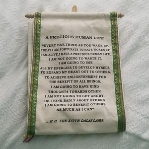 2-pocket wall hanging with Buddhist quote
